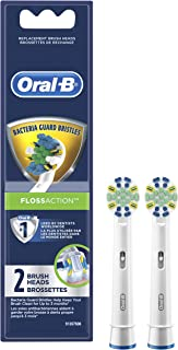 Oral-B Floss Action Electric Toothbrush Replacement Brush Heads Refill, 2 Count
