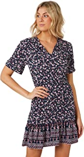 The Hidden Way Women's Rosetta Mini Dress V-Neck Short Sleeve Rayon Blue