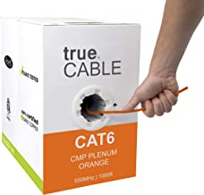 Cat6 Plenum (CMP), 1000ft, Orange, 23AWG 4 Pair Solid Bare Copper, 550MHz, ETL Listed, Unshielded Twisted Pair (UTP), Bulk Ethernet Cable, trueCABLE