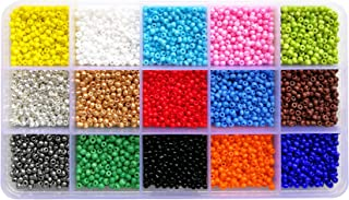 BALABEAD 7500pcs in Box 8/0 Glass Seed Beads Loose Spacer Beads, 3mm Opaque Seed Beads, Hole 1.0mm (500pcs/Color, 15 Colors)