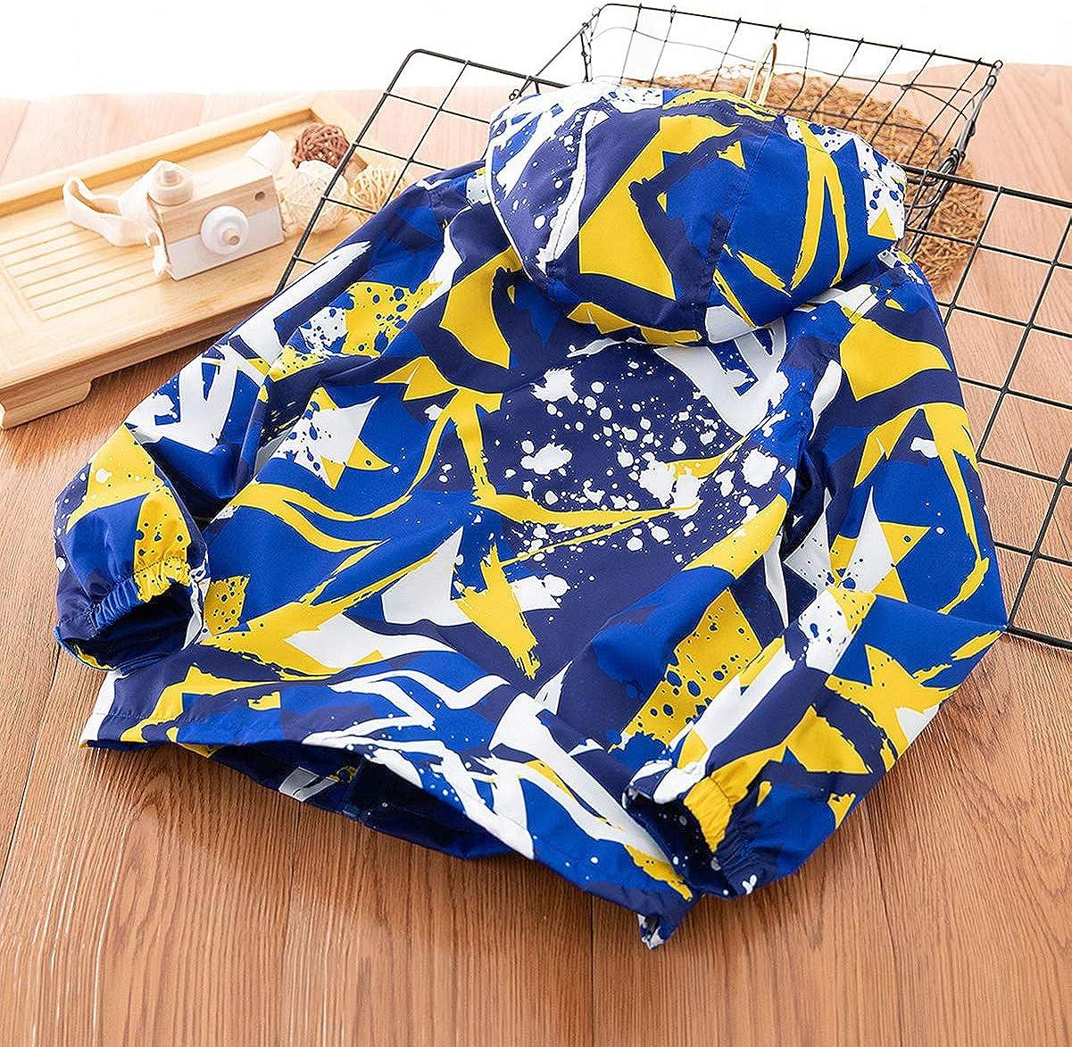L SERVER Veste /à Capuche Plus Velours Enfant Unisex Softshell Blouson Softshell Multicolor/é Imprim/é,Coupe-Vent Enfant Graffiti Outwear Coat Couche Double Printemps