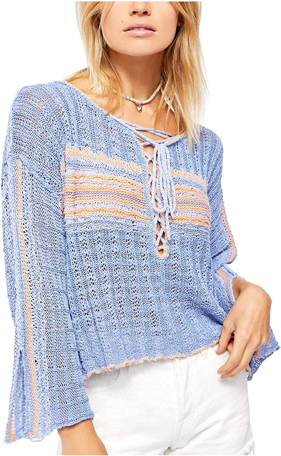 Free People Marina Bay Women's Open Stitch Striped Lace-Up Pullover Sweater