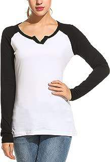 Zeagoo Women's Long Sleeve V Neck Loose Raglan Baseball T-Shirt Top