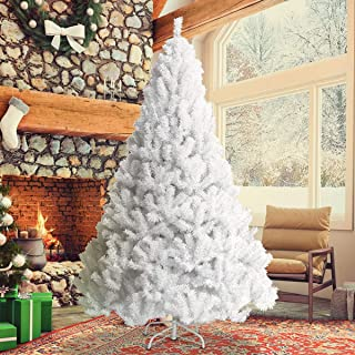 Toolsempire Artificial 5/6/7/8 Ft White Christmas Tree Spruce Tree with Solid Metal Legs Perfect for Indoor Holiday Decoration (8 feet)