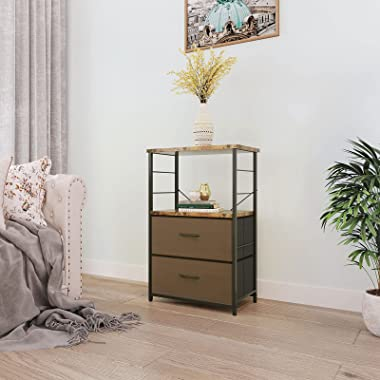 ODK Nightstand, File Cabinet, End Table, Side Table with Drawer and Shelf, Bedroom Night Stand, Easy Assembly, Steel, Industr