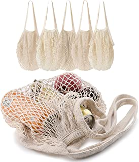 5 pack Cotton String Shopping Bags Reusable Washable Grocery Mesh Bags Organizer for Grocery Shopping Produce Net Bags with Longhandle for Fruit Vegetable Storage