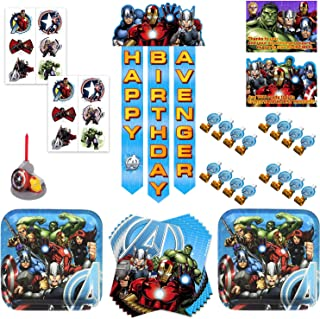 Marvel Avengers Assemble Birthday Party Supplies Pack With Decorations & Favors - Bundle for 16 Guests - Plates, Napkins, Invites, Thank You Cards, Banner, Blowouts, Candle