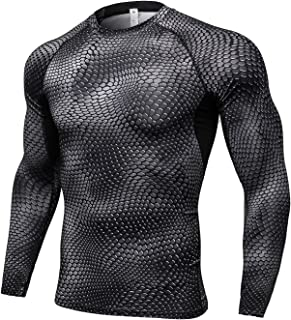Kingswell Men's Long Sleeve T-Shirt Mock Baselayer Quick Dry Compression TopSports Shirt