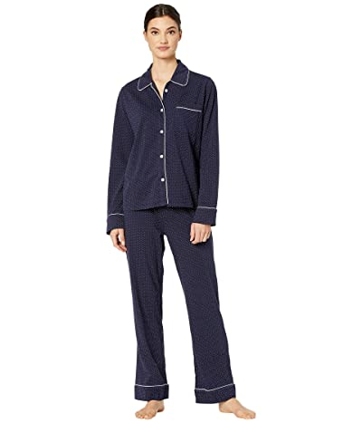 Michael Stars Sloane Pin Dot Classic PJ Set w/ Piping (Admiral) Women