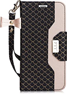 FYY Leather Case with Mirror for iPhone 8 Plus/iPhone 7 Plus, Leather Wallet Flip Folio Case with Mirror and Wrist Strap for iPhone 8 Plus/iPhone 7 Plus Ink