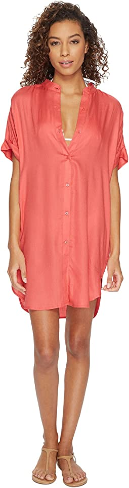 Solid Shirtdress Cover-Up