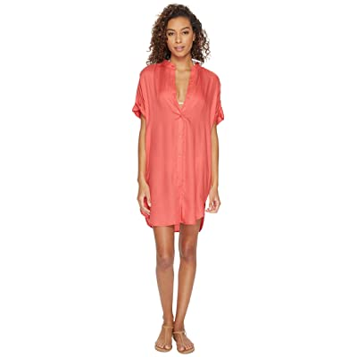 Echo Design Solid Shirtdress Cover-Up (Coral) Women