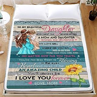 BlanketThrow Blanket Express Love to My Daughter, Letter Blanket 3D Print Sherpa Blanket on Bed Home Textiles Blanket Best...