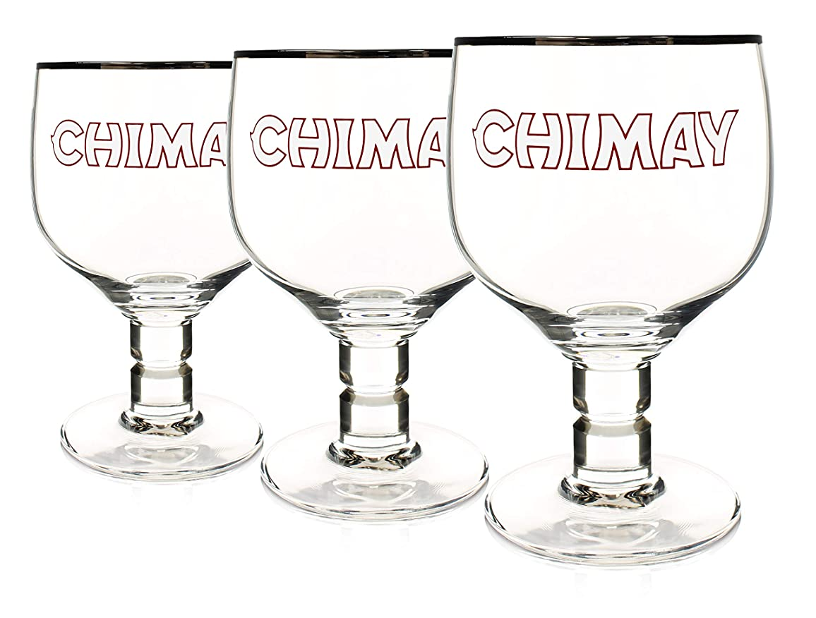 クラウンすでに内側Chimay 3パック オリジナル ゴブレット チョイスビールグラス 33cl