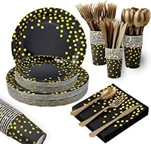 Black and Gold Party Supplies 175 Pieces Disposable Party Dinnerware Set- Gold Dots on Black Paper Plates Napkins Cups, Gold Plastic Forks Knives Spoons for Graduation, Birthday Party