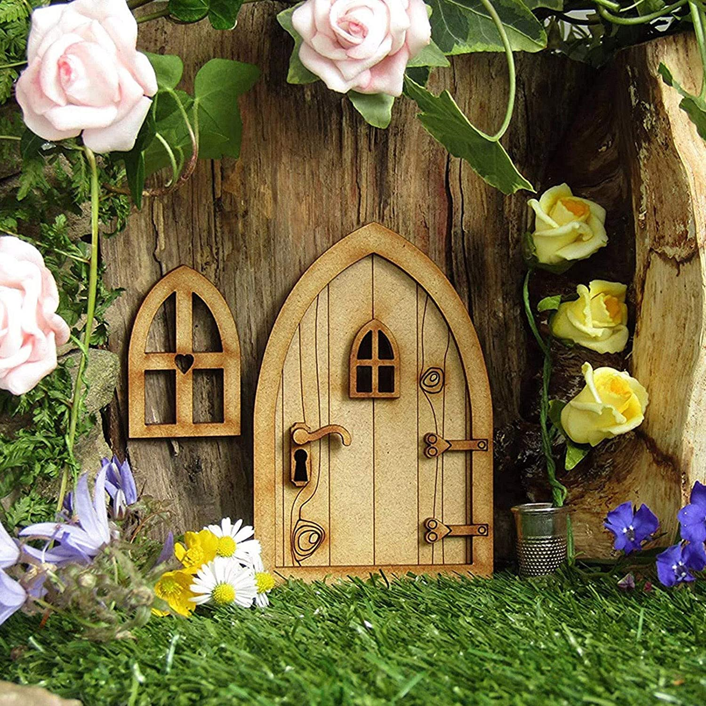 Puerta de hadas de madera para puerta de hadas, puerta de madera con gnomo divertido para decoración de casa de juegos, puerta de manualidades, decoración 3D para autoorganización