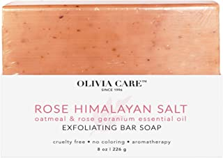 OLIVIA CARE Rose Himalayan Bar Soap for whole Body & all Skin types. The best Anti-bacterial cleanser for hands! All-Natural Beauty soap for Showers that gently exfoliates with Rose Oil and Oatmeal!