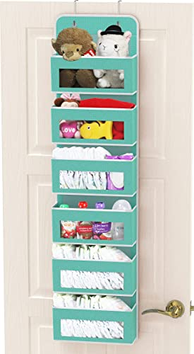popular Simple high quality Houseware Over Door/Wall Mount online 6 Clear Window Pocket Organizer, Turquoise online