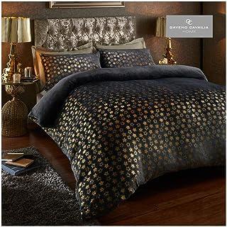 Gaveno Cavailia Teddy Fleece Star Foil Duvet Set Double Charcoal, Super Soft Fluffy Cosy Warm Shiny Bedding, 3 Piece Easy ...