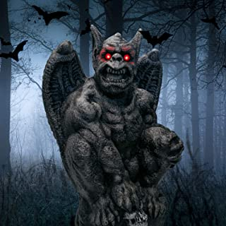 Auhavor Gargoyle Monster Halloween Decoration with Glowing Eyes Halloween Decorative Statue Yard Lawn Indoor