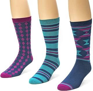 Muk Luks Men's 3 Pack Jacquard Patterned Crew Socks