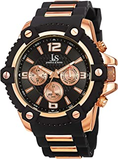 Joshua & Sons Men's Multifunction Swiss Watch - 3 Subdials, Day, Date and GMT On Silicone Strap - JS94