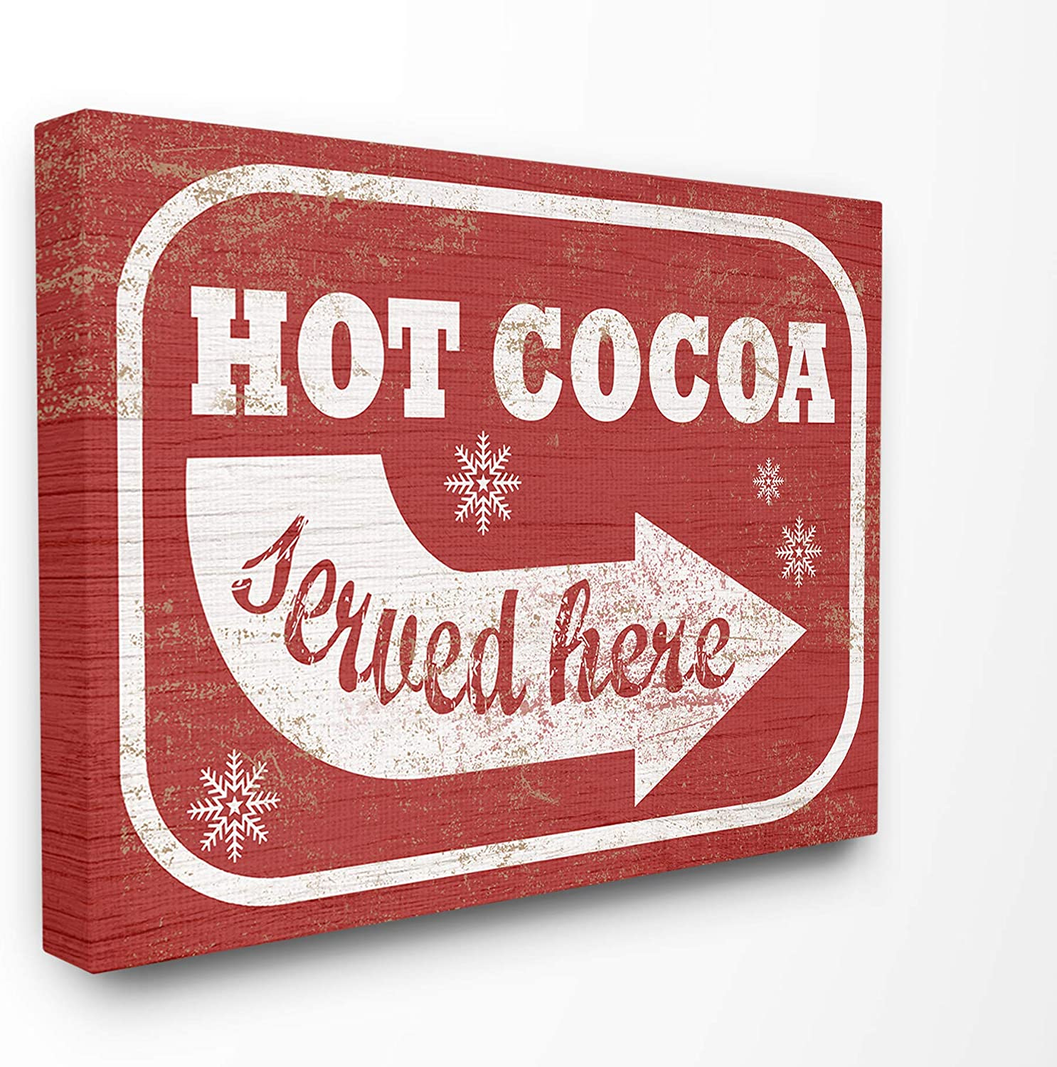 Stupell Industries Home Holiday Rustic Distressed White and Red Vintage Sign Hot Cocoa Served Here Stretched Canvas Wall Art, Multicolor