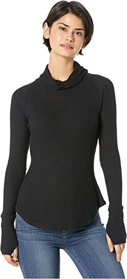 Thermal Long Sleeve Raglan Turtleneck Thumbhole Shirttail Tee