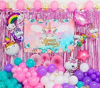 تزیینات جشن تولد اسب شاخدار 129 بسته ، لوازم مهمانی تم تک شاخ برای مهمانی جشن تولد دخترانه با کیت های بادکنکی گارلند ، زمینه تولد ، بالن های فویلی تک شاخ ، پرده و پنکه کاغذ