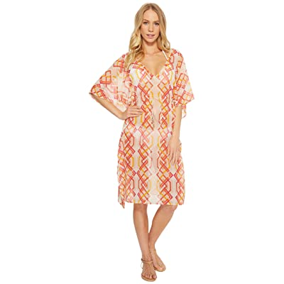 Echo Design Cabana Lattice Double-V Cover-Up (Coral) Women