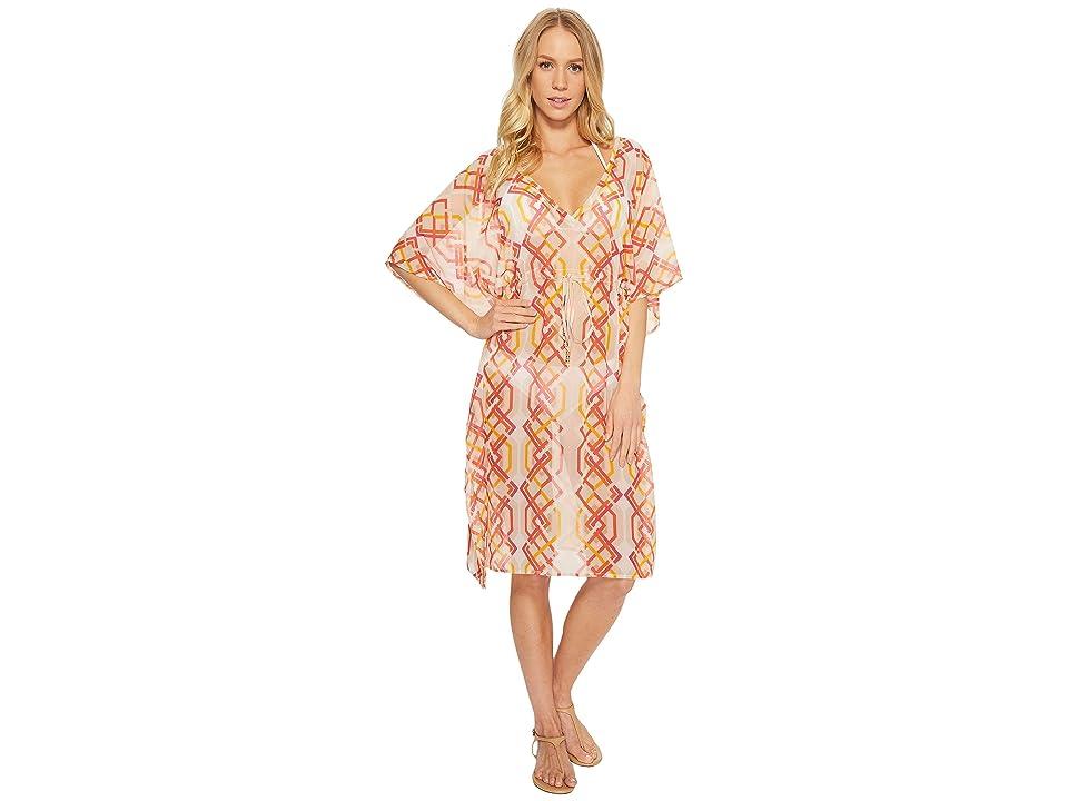 Echo Design Cabana Lattice Double-V Cover-Up (Coral) Women