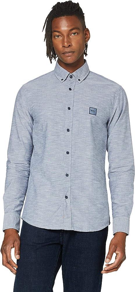 Hugo boss, camicia per umo, slim fit in cotone 100% oxford con toppa con logo jacquard 50432726