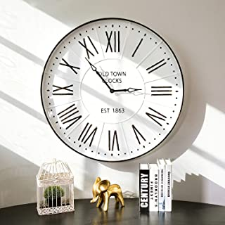 "Glitzhome 31.5"" Oversized Decorative Wall Clock with Roman Numerals, Large Round.."