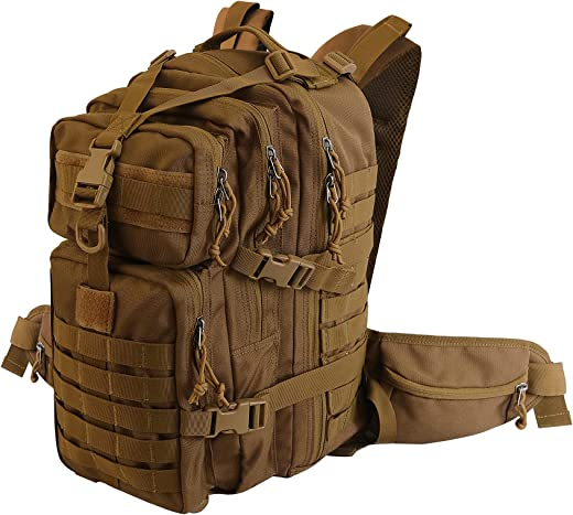 Military Tactical Style Hiking Expandable Backpack Assault Pack Bug Out Bag (khaki)