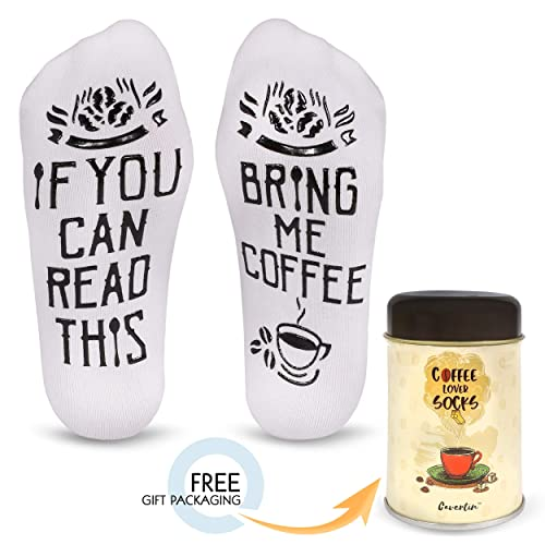 Cavertin FunnyBring Me Coffee Cotton Socks With Gift Packaging