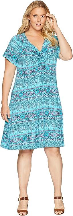 Plus Size Stamped Geo Emma Dress