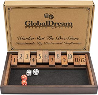 GlobalDream Wooden Shut The Box Game - 12 Numbers Dice Game for Kids and Adults - 2 Players and Up