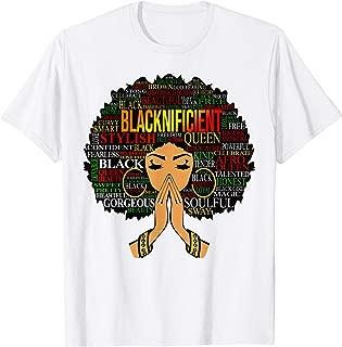Blacknificent Words Art Afro Natural Hair Black Queen Gift T-Shirt