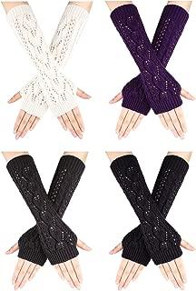 4 Pairs Long Knitted Fingerless Gloves Winter Short Arm Gloves Thumb Hole Gloves for Women Girls Favors