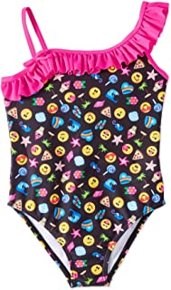 Emojination Little Girls Ruffle Off The Shoulder One Piece Swim Wear Swimsuit With UPF 50 + Sun Protection Size 4-6x