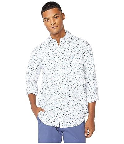 Nautica Classic Fit Floral Print Shirt (White) Men