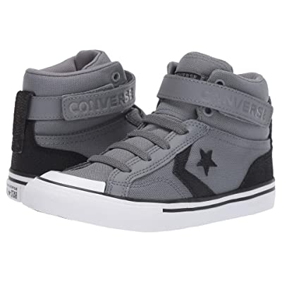 Converse Kids Pro Blaze Strap Back Court Leather Hi (Little Kid/Big Kid) (Cool Grey/Black/White) Boys Shoes