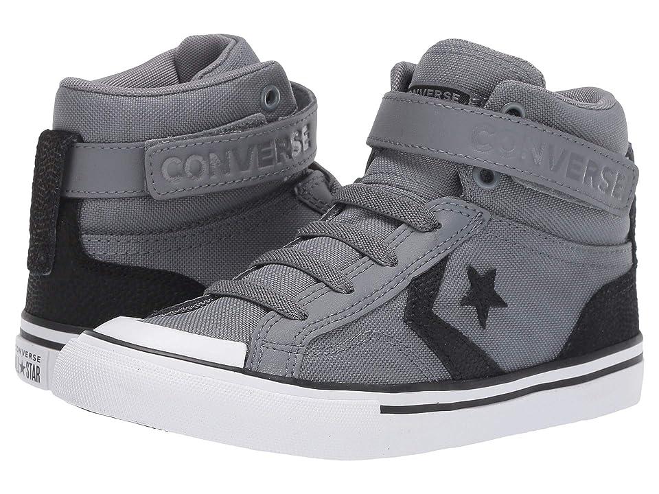 Image of Converse Kids Pro Blaze Strap Back Court Leather - Hi (Little Kid/Big Kid) (Cool Grey/Black/White) Boys Shoes