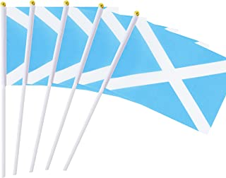 Kind Girl Hand Held Scotland Flag Scotch Flag Stick Flag Mini Flag 50 Pack Round Top National Country Flags, Party Decorations Supplies for Parades,World Cup,Sports Events,International Festival
