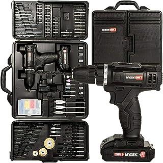 MYLEK MYBMC092 18V Cordless Drill Electric Driver Set, Lithium Ion Battery, 18 Volt Combi Screwdriver Pack, Black, 151 DIY...