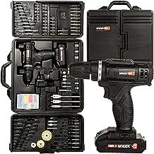 MYLEK MYBMC092 Akku-Bohrschrauber-Set, 18 V, Lithium-Ionen-Akku, 18 Volt Kombi-Schraubendreher-Set, Schwarz, 151-teiliges ...