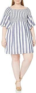 Lucky Brand womens PLUS STRIPED SMOCKED DRESS Dress