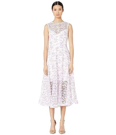 ML Monique Lhuillier Bi-Colored Lace Midi Lace Gown