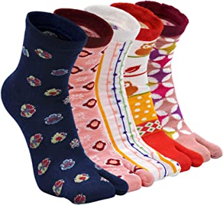 ZFSOCK, Tabi Socks - Calcetines de algodón para mujer, 2 puntas, calcetines kimono, calcetines japoneses, diseño de Sakura