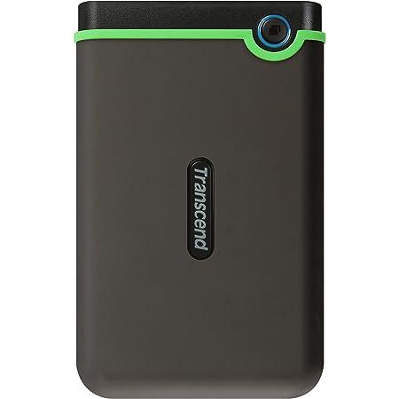 Transcend ポータブルHDD 1TB 耐衝撃 スリムタイプ USB3.1 Gen1 アイロングレー 3年保証 TS1TSJ25M3S